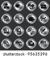 Economy Icons on Metallic Button Collection Original Illustration - stock vector