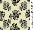 EPS 10, Hand-drawn seamless pattern with decorative floral ornament (beautiful retro style) - stock vector