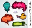 EPS10, Set of hand-drawn multicolored speech bubbles with floral elements for decoration and design (stickers elegant collection) - stock vector