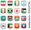 Flag icon set (part 6) Iran, Iraq, Ireland, Israel, Italy, Jamaica, Japan, Jordan, Kazakhstan, Kenya, Kiribati, North Korea, South Korea, Kuwait, Kyrgyzstan, Laos - stock vector
