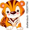 Fun zoo. Illustration of cute Tiger - stock vector