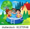 Garden with pool and cartoon kids - vector illustration. - stock vector