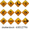 Glossy Diamond Road Signs 12 glossy driving signs. The highlights are on one layer if a flat look is preferred. The signs have not been flattened and are broken up into  layers for easy editing. - stock vector