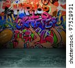 Graffiti wall background, urban street grunge art vector design - stock vector