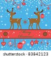 Greeting xmas card with deer - stock vector