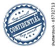 Grunge rubber stamp with the words Confidential - Top secret inside, vector illustration - stock vector