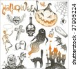 Halloween and horror hand drawn set - stock vector