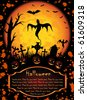 Halloween background with Jack O' Lantern and ghost, illustration - stock vector