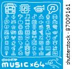 Hand drawn,doodle music icon set - stock vector