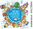 Happy children writing letters to Santa Claus. Christmas greeting card  2 - stock vector