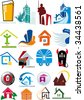 House vector Icons for Web. Construction or Real Estate concept. Abstract color element set of business templates. Just place your own company name. Collection 9. - stock vector