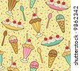 Ice Cream Pattern - stock vector