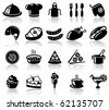 Kitchen and food black icons set - stock vector