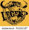 legend print design artwork - stock vector