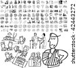 Medical set of black sketch. Part 105-1. Isolated groups and layers. - stock vector