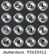 Nature Icons on Metallic Button Collection Original Illustration - stock vector