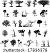 Nature tree silhouettes illustration set - stock vector