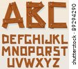 Old Grunge Wooden Alphabet, vector set with all Letters, ready for your Text Message, Title or Logos Design - stock vector