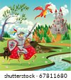 Panorama with medieval castle, dragon and knight. Cartoon and vector illustration - stock vector