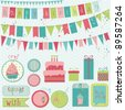 Retro Birthday Celebration Design Elements - for Scrapbook, Invitation in vector - stock vector