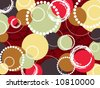 retro pop colorful brown red circles and dots (vector) - stock vector