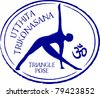 Retro Utthita Trikonasana Triangle Yoga Pose in Passport Stamp Style Vector Illustration - stock vector
