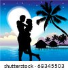 Romantic Couple On Beach - stock vector