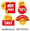 Sale tags with a cheerful sun. Use for advertising product or service. - stock vector