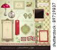 scrapbooking kit: christmas - variety of ephemera and design elements for your holiday layouts - stock vector