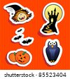 Series of funny stickers, Halloween theme. Vector - stock vector