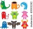 Set of different cute funny cartoon monsters - stock vector