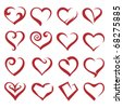 set of sixteen icons of hearts - stock vector