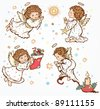 set of the cute angels with the stars and Christmas Gifts- merry christmas and happy new year - vector illustration - stock vector