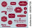Set of vintage Christmas holiday labels and graphics - stock vector