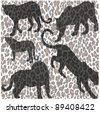 silhouettes leopard and print - stock vector