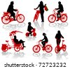 Silhouettes of people and children on bicycles - stock vector