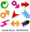 Sticky collection of paper arrows. Vector illustration. - stock vector