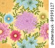 Summer seamless pattern with daisy, chrysanthemum and dahlia flowers - stock vector