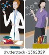 Teacher illustrations series.  1) Chemistry teacher teaching a class. 2) Chemistry teacher teaching a class and writing a chemical formula on a blackboard. - stock vector