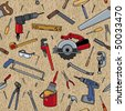 Tools on a wood pattern. Tools are individually grouped. Seamless pattern is on separate layer. - stock vector