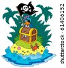 Treasure island with pirate parrot - vector illustration. - stock vector