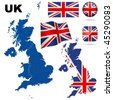 United Kingdom vector set. Detailed country shape with region borders, flags and icons isolated on white background. - stock vector