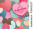 Valentine`s Day card with pile of paper hearts and place for text. - stock vector
