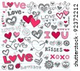 Valentine's Day Love & Hearts Sketchy Notebook Doodles Design Elements on Lined Sketchbook Paper Background- Vector Illustration - stock vector