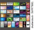 various vertical and horizontal business cards on various themes - stock vector