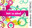 Vector cute sketch style back to school illustration - stock vector