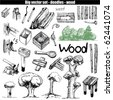 vector doodle set - wood - stock vector