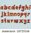 VECTOR Grungy colourful, hand drawn lowercase alphabet / font / letters. - stock vector
