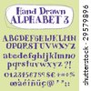 Vector hand drawn alphabet for designer 3. Change easily the colors as you wish. - stock vector