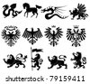 Vector heraldic animals set #2 - stock vector
